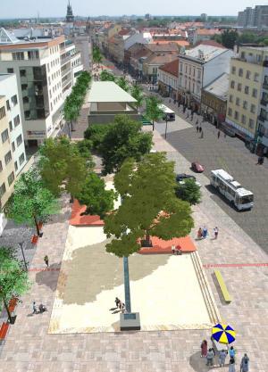 Návrh pěší zóny radikálně řeší dopravní situaci v centru Pardubic a navrhuje výrazné ukončení Třídy Míru. (zdroj: Atelier Walter)
