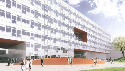 Návrh nové budovy - nástupce historické budovy by se měl stavět podle projektu  ateliéru SIAL
