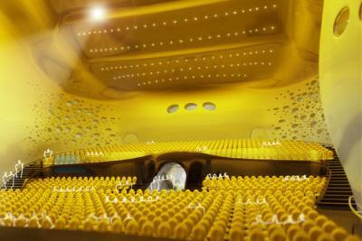 Návrh koncertního sálu v Českých Budějovicích. Kaplický navrhl fluidní křesla speciálně do Rejnoka.
