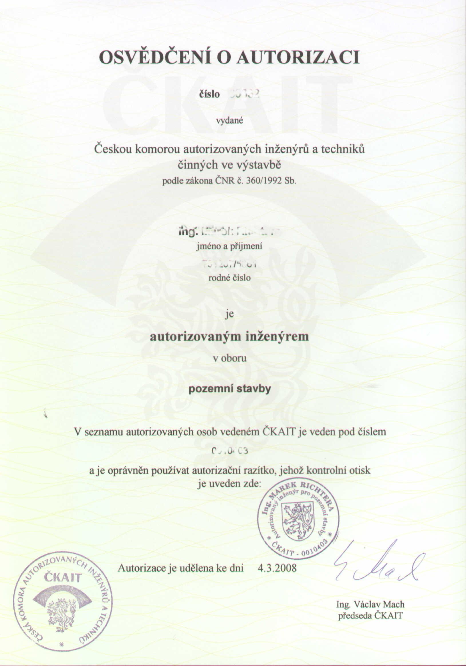 Autorizace stavbyvedoucí